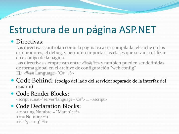 Estructura de un página ASP.NET