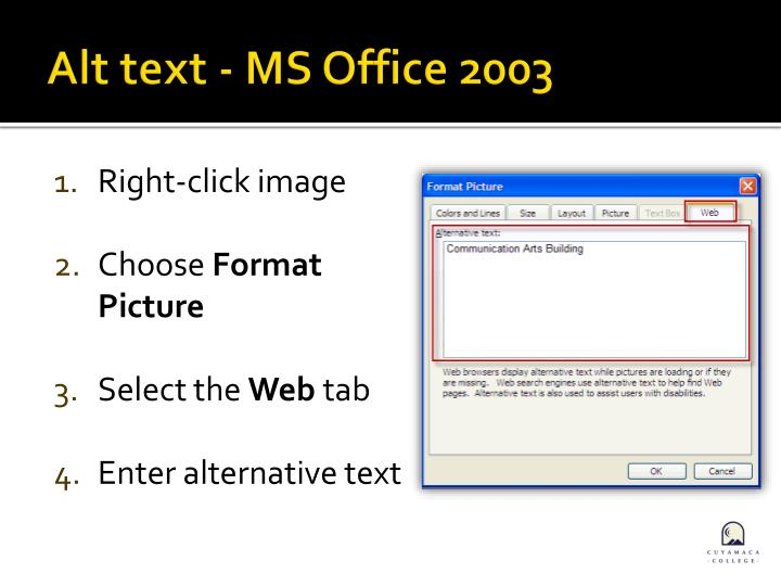 Alt text - MS Office 2003