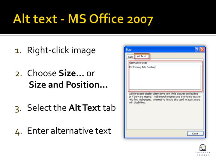 Alt text - MS Office 2007