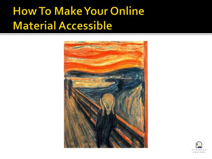 How to make your online material accessible