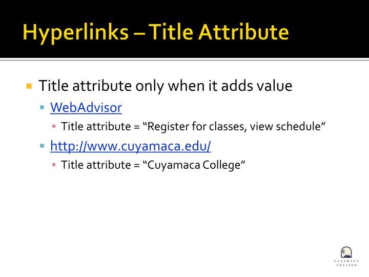 Hyperlinks – Title Attribute