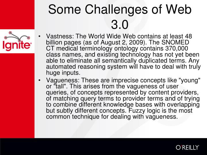 Some Challenges of Web 3.0