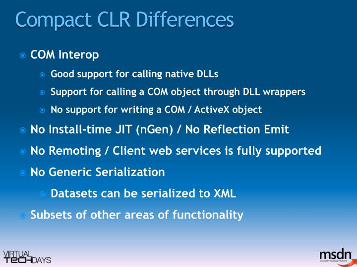 Compact CLR Differences