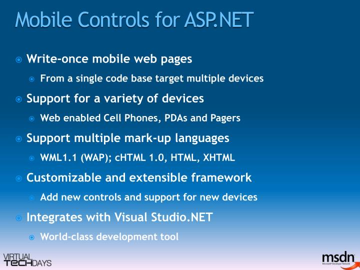 Mobile Controls for ASP.NET