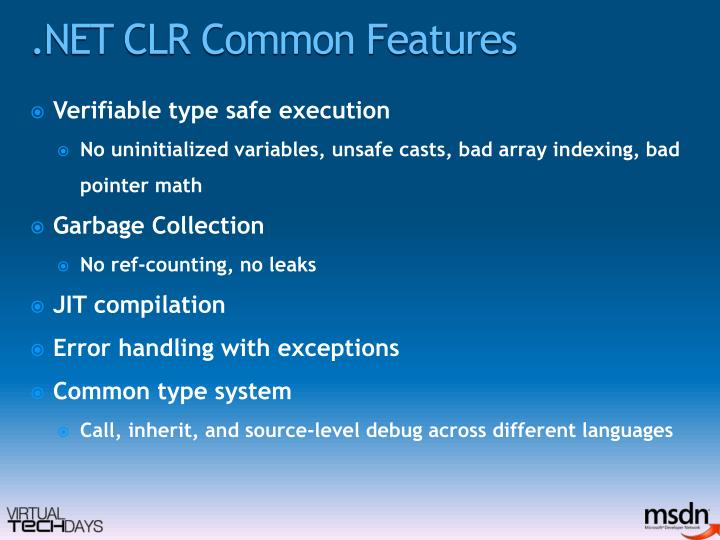 .NET CLR Common Features