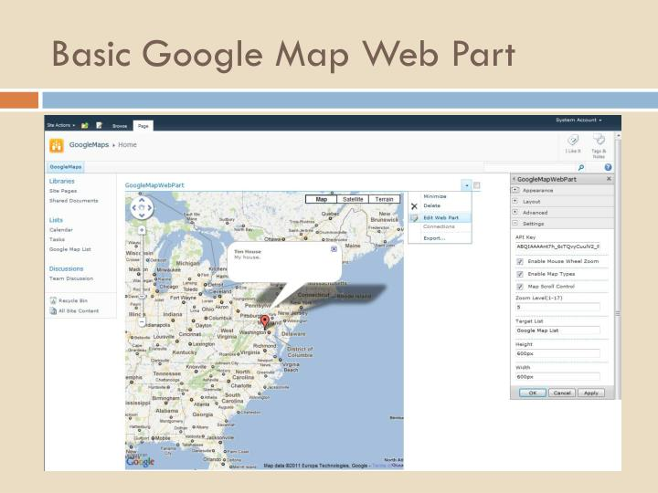 Basic Google Map Web Part