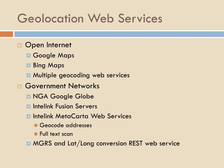 Geolocation Web Services