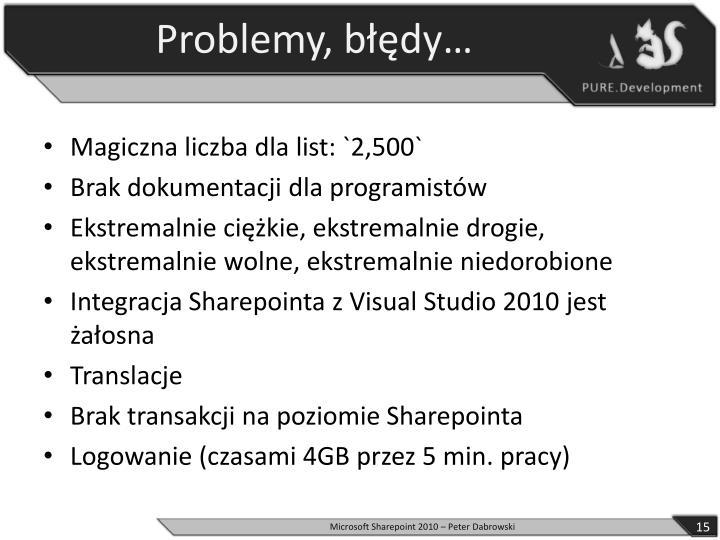Problemy, błędy…