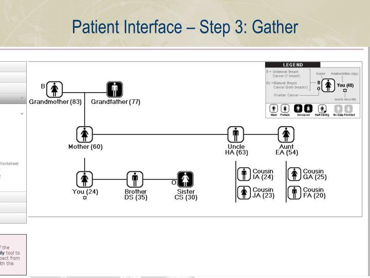 Patient Interface – Step 3: Gather