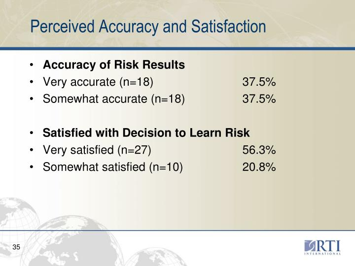 Perceived Accuracy and Satisfaction
