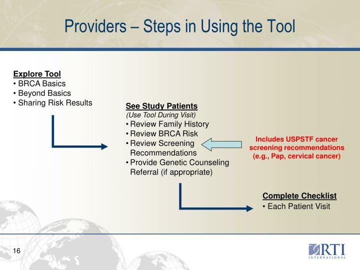 Providers – Steps in Using the Tool
