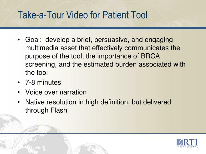 Take-a-Tour Video for Patient Tool