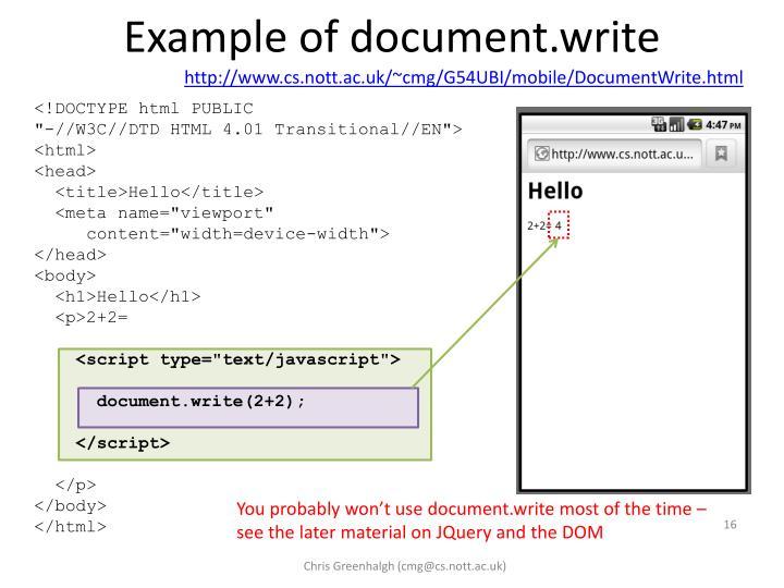 Example of document.write