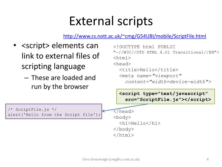 External scripts