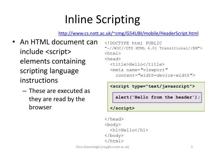 Inline scripting