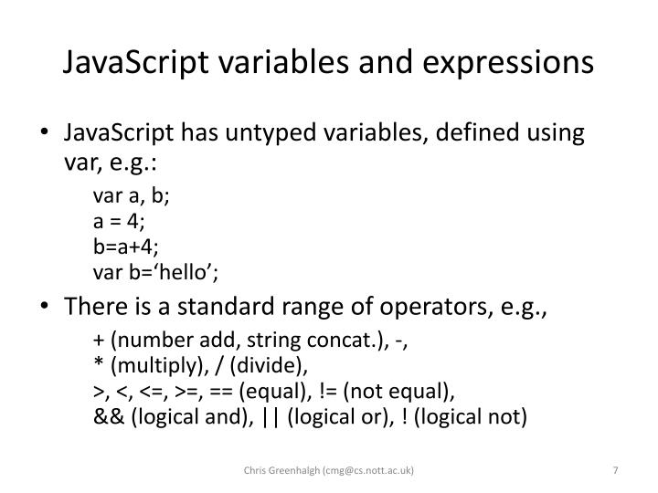 JavaScript variables and expressions