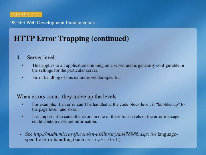 HTTP Error Trapping (continued)