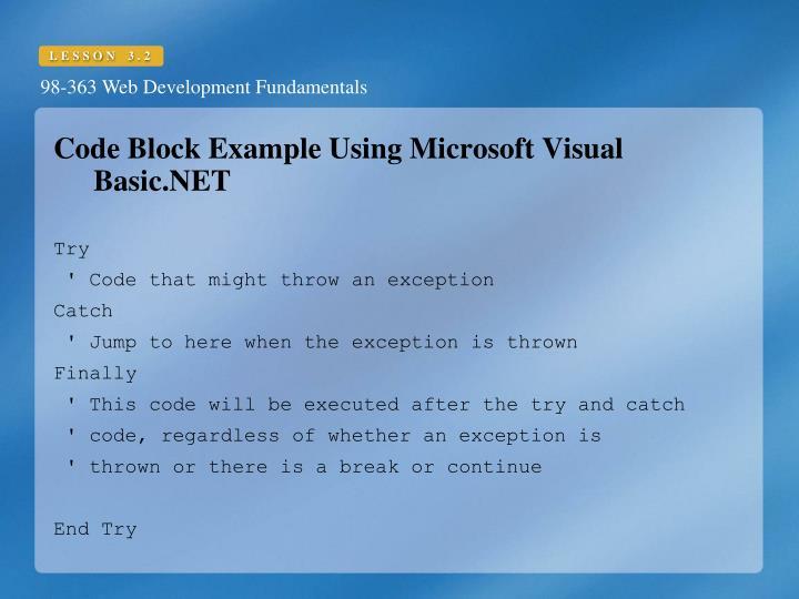 Code Block Example Using Microsoft Visual Basic.NET