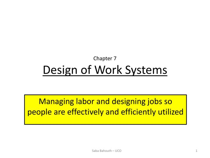 chapter 7 design of work systems n.
