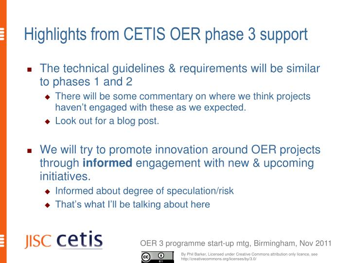 Highlights from cetis oer phase 3 support