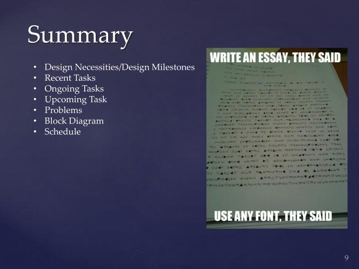 Design Necessities/Design Milestones
