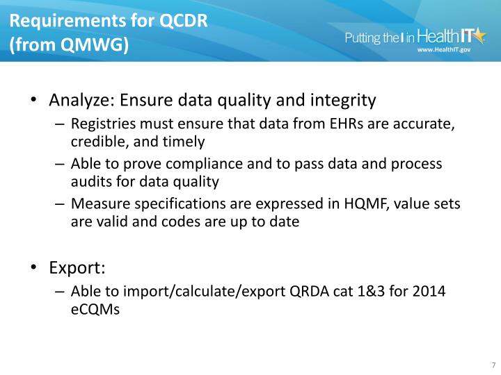 Requirements for QCDR