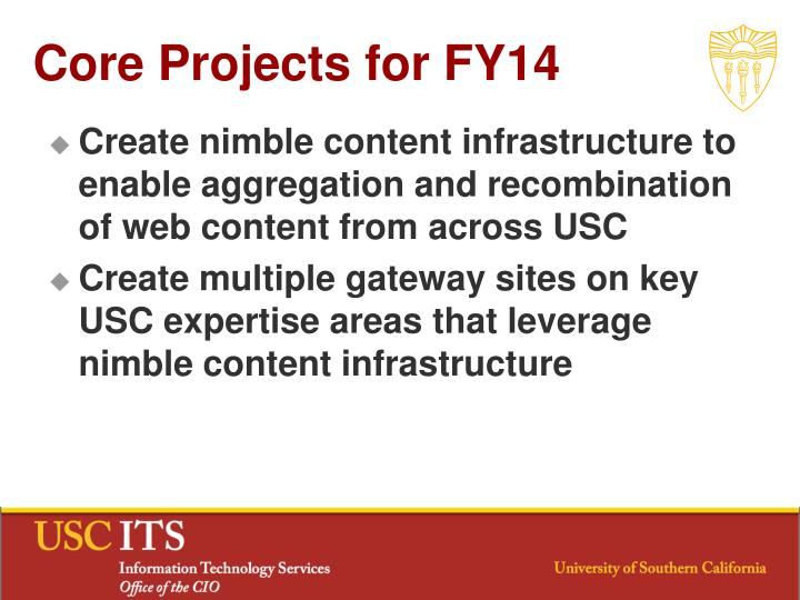 Core Projects for FY14