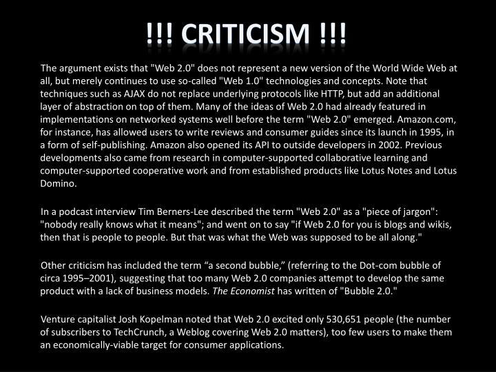 !!! Criticism !!!