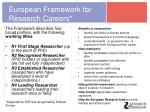 european framework for research careers