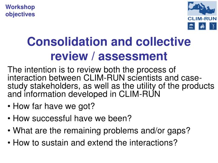 Consolidation and collective review assessment
