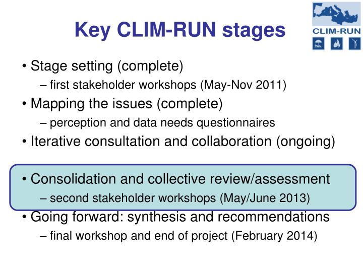 Key clim run stages