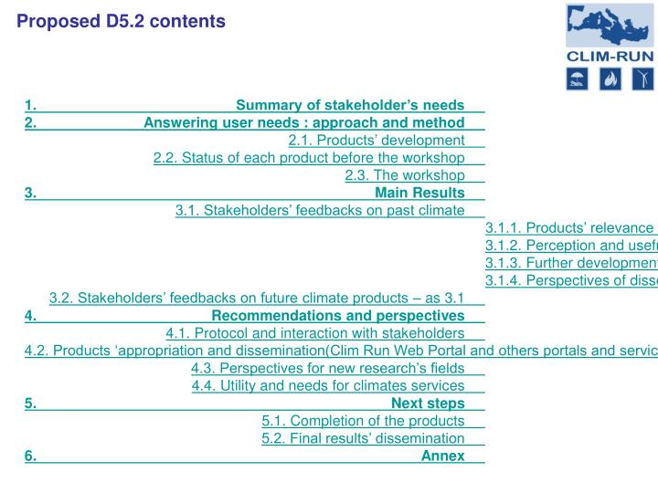 Proposed D5.2 contents
