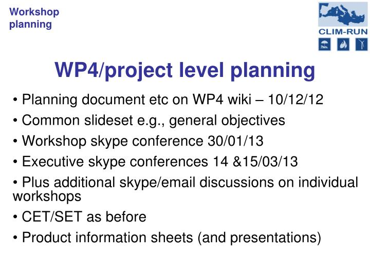 Wp4 project level planning