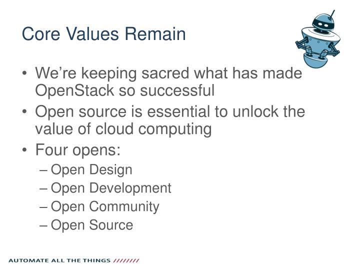 Core Values Remain