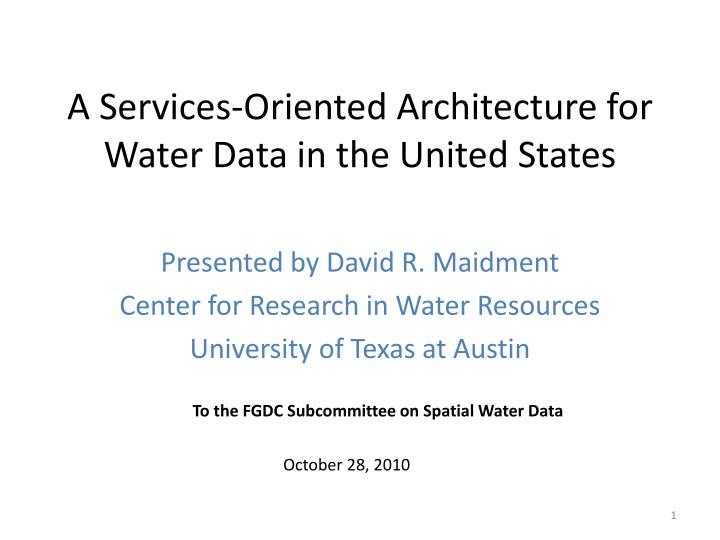 a services oriented architecture for water data in the united states n.