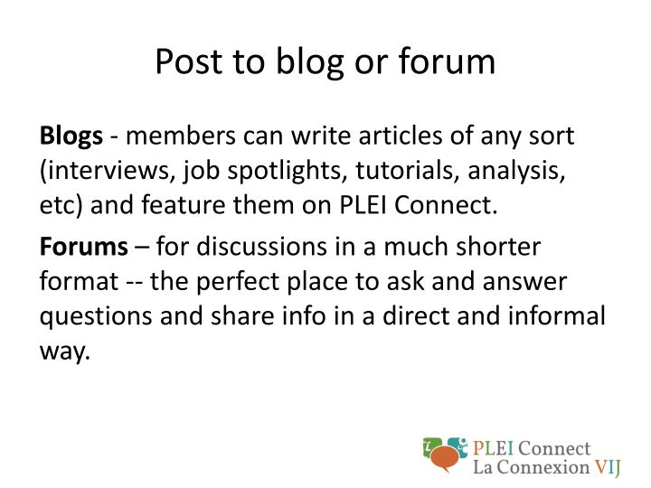 Post to blog or forum