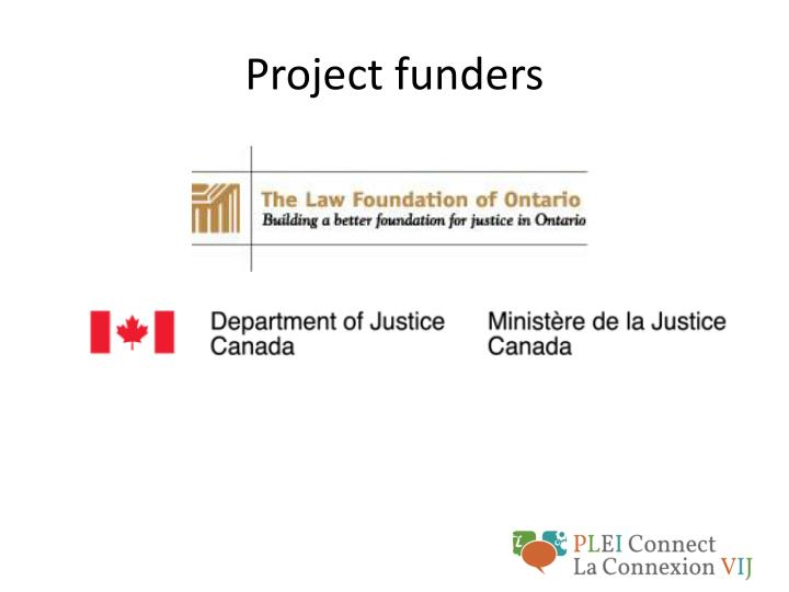 Project funders