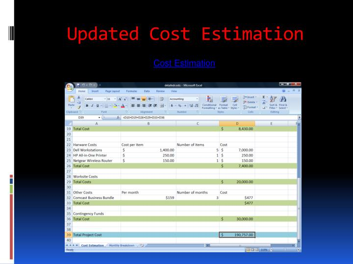 Updated Cost Estimation