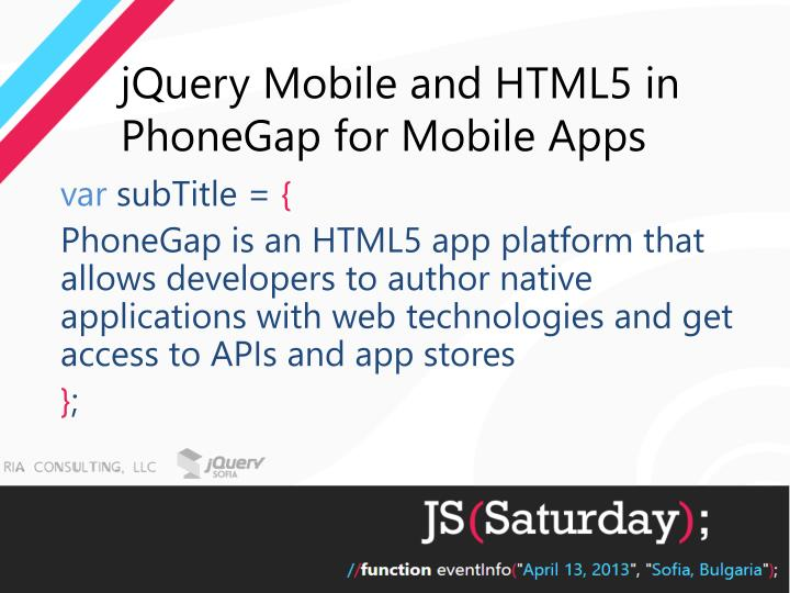 jquery mobile and html5 in phonegap for mobile apps n.