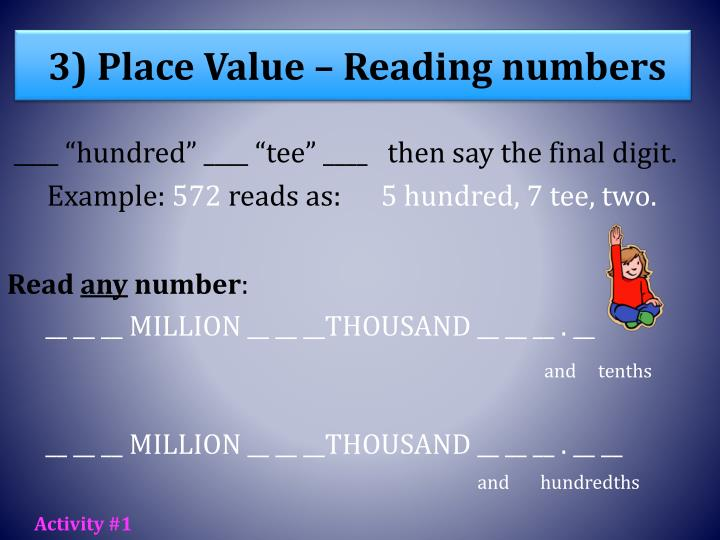 3) Place Value – Reading numbers