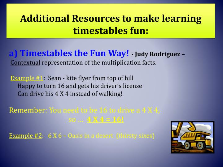Additional Resources to make learning timestables fun: