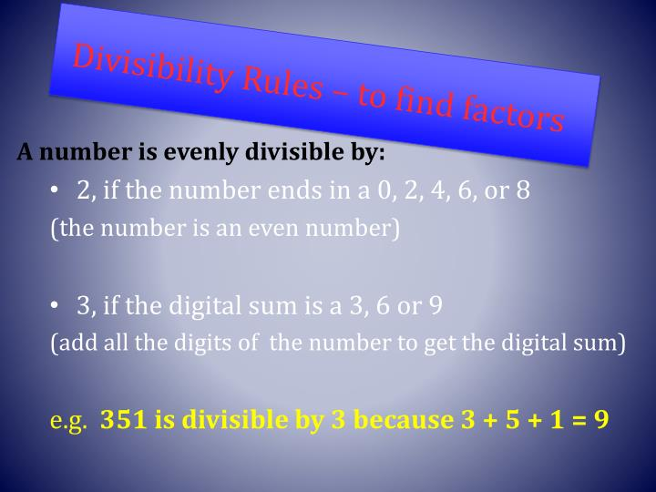 Divisibility Rules – to find factors