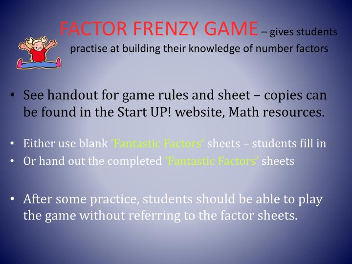 FACTOR FRENZY GAME