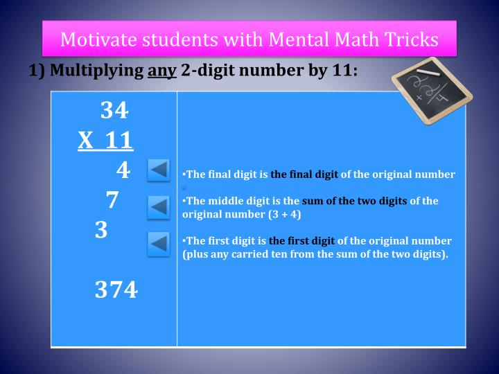 Motivate students with Mental Math Tricks