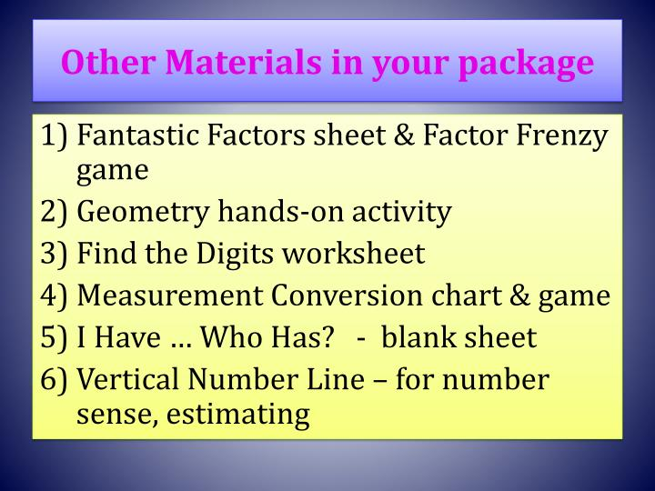 Other Materials in your package