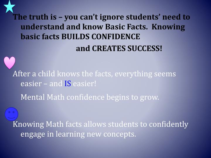The truth is – you can't ignore students' need to understand and know Basic Facts.  Knowing basic facts BUILDS CONFIDENCE