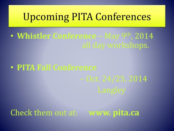 Upcoming PITA Conferences