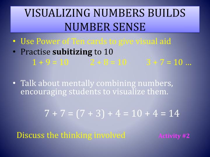 VISUALIZING NUMBERS BUILDS NUMBER SENSE