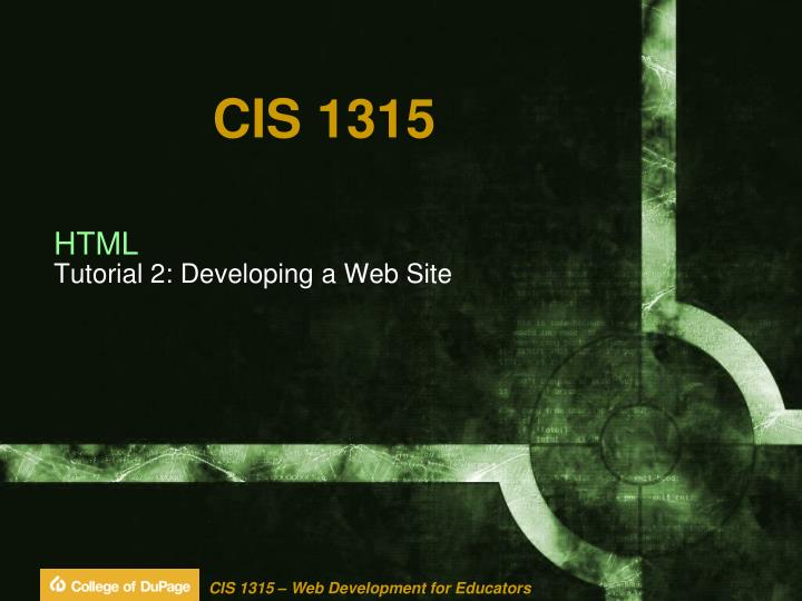Html tutorial 2 developing a web site