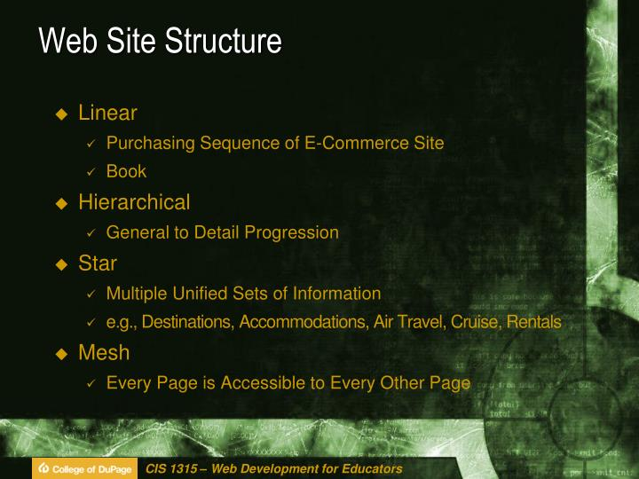Web site structure